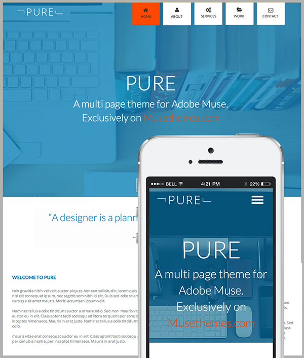 Pure Adobe Muse Website Template On Behance - Adobe muse website templates