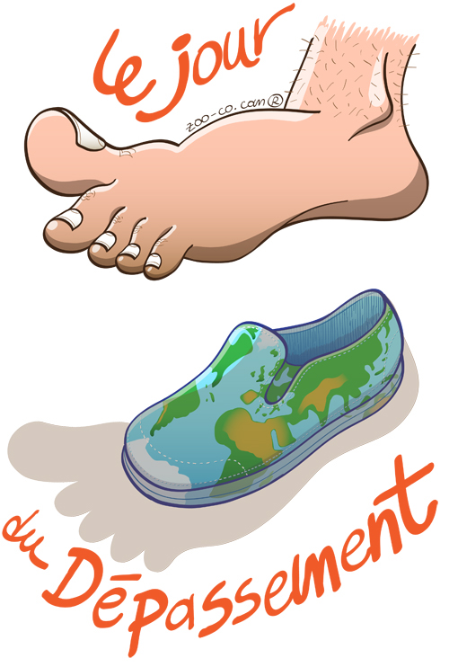 Earth overshoot day. Oversized barefoot hovering over a world shoe