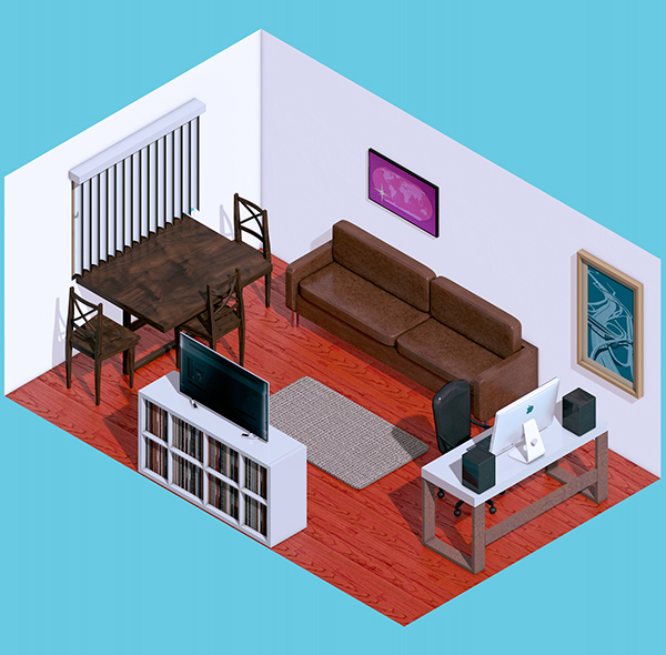 Isometric living room on behance for Living room cinema 4d