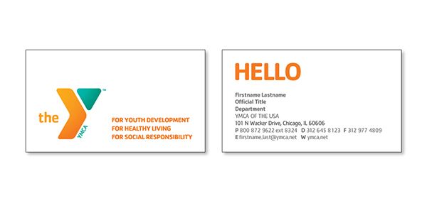Business card layout for YMCA of the USA on Behance