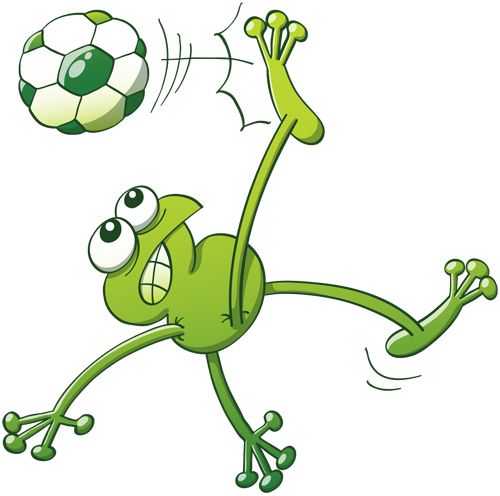 Green frog executing a bicycle kick with a soccer ball