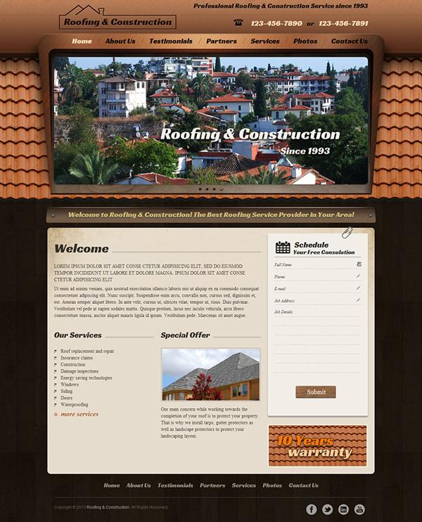 Roofing And Construction Responsive Wordpress Template On Behance - Website templates wordpress