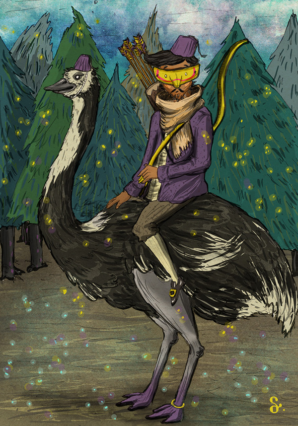 ostrich ranger Pluto Space  alien planet forest