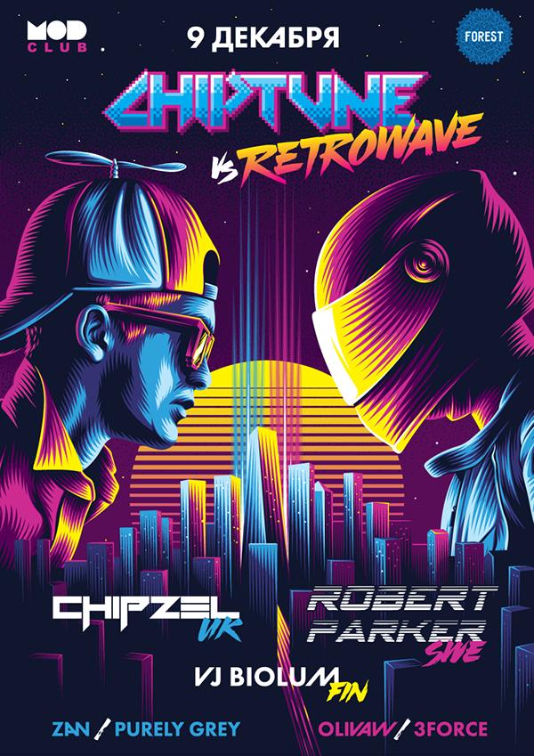 Chiptune Vs Retrowave Poster On Behance