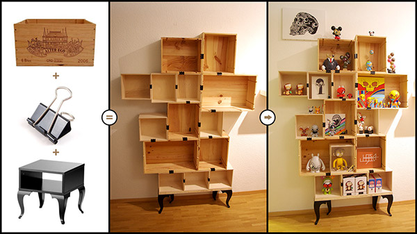 ... shelfs on the internet, so i gave it a try.. i found some wooden wine  boxes, clips and a old ikea table i took the legs of... so here's the  result.