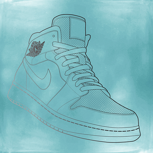 The vector of the Nike shoe was then placed into Adobe Photoshop. I decided  that I did not want the lines to be one color, so I used a gradient to fade  ...