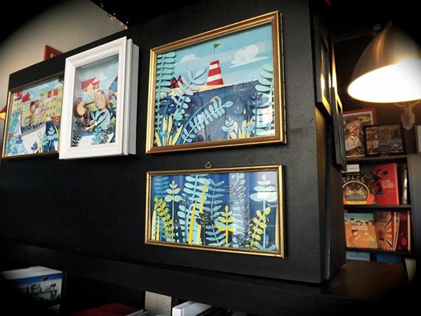 collage frame art story sequence narrative gouache blue SKY sea Fisherman boat mermaid lyrical adventure