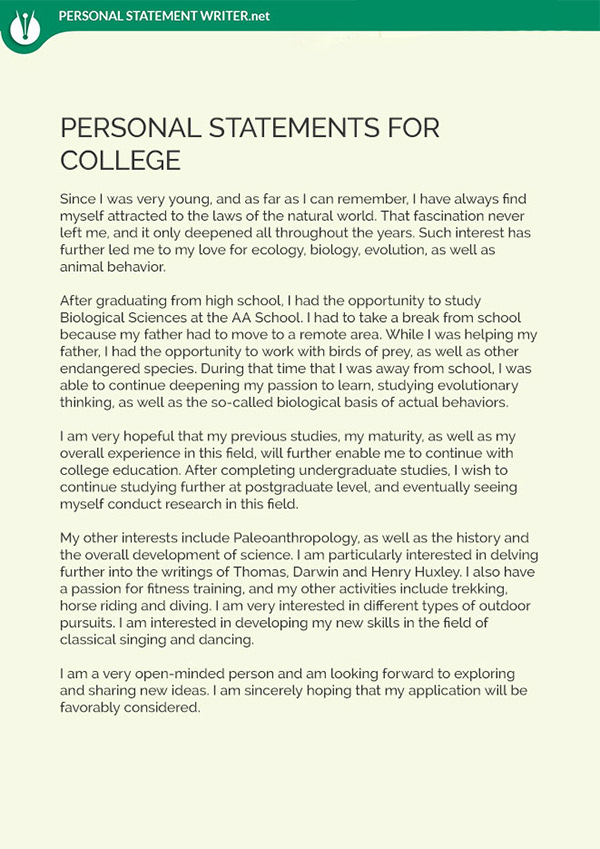 personal statement examples college