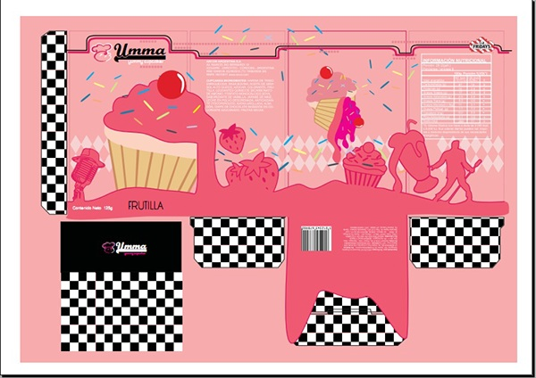 Dise o de packaging cupcakes a os 50 on behance for Diseno de packaging pdf