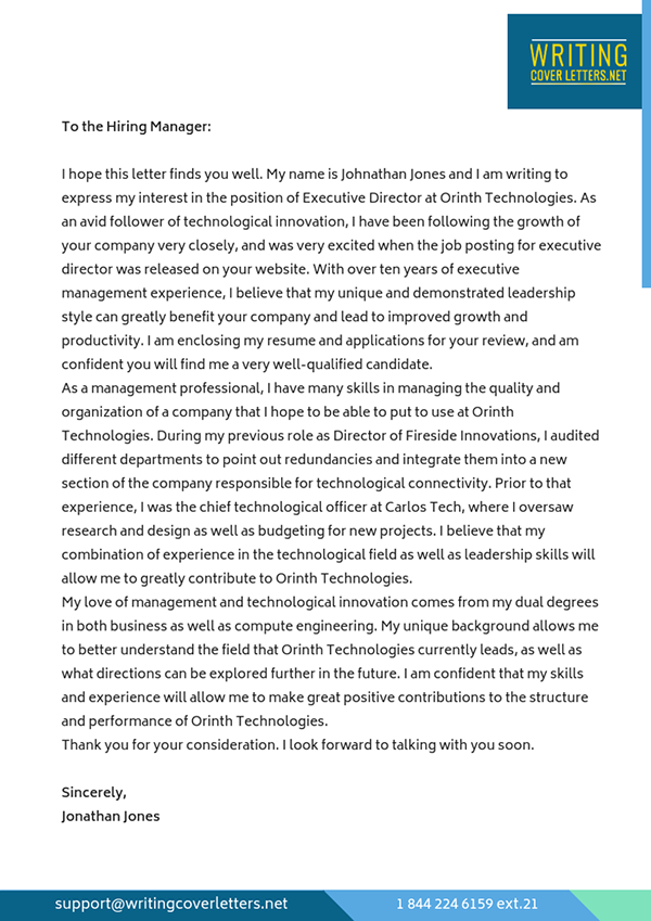 Executive Director Cover Letter Sample on Pantone Canvas Gallery