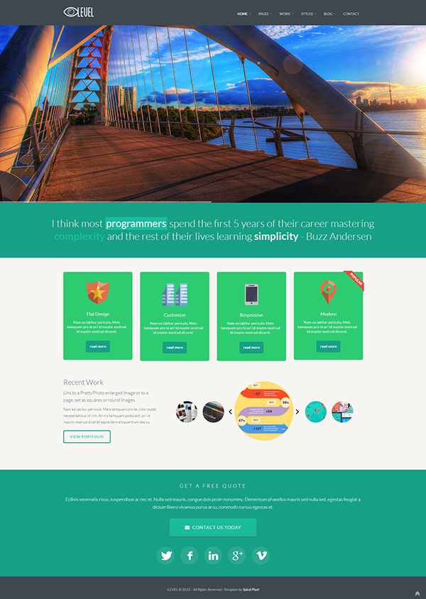 Ilevel Responsive Flat Design Bootstrap Template On Behance