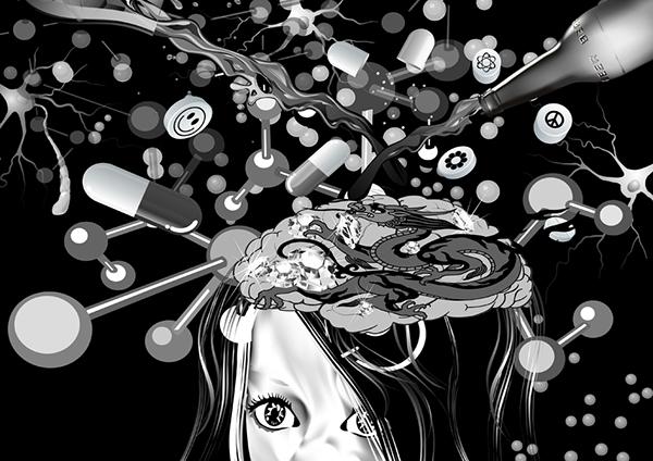 Rickey Brugman black en white surreal cartoon