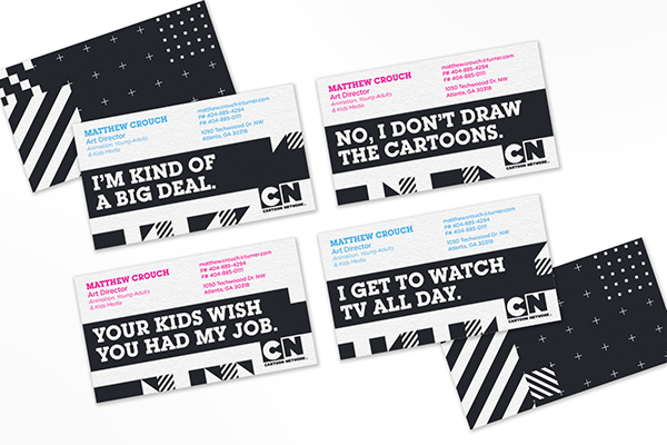 Cartoon network business cards on behance i used the show icons from the network tune in bumps for the various shows in production on the front and the back the back design recalling the original colourmoves