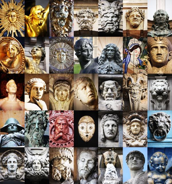faces Paris visage photo head eyes sculpture mosaic