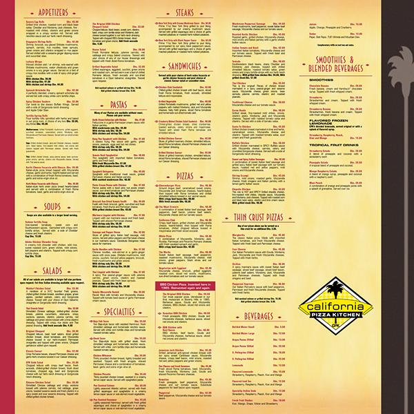 California Kitchen Pizza Menu: California Pizza Kitchen Menu Dubai
