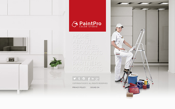 Paint Pro House Painting Color Studio HTML48 Template On Behance Mesmerizing Best Home Interior Design Websites Painting