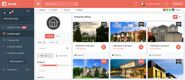 Property Admin Panel Html template on Behance
