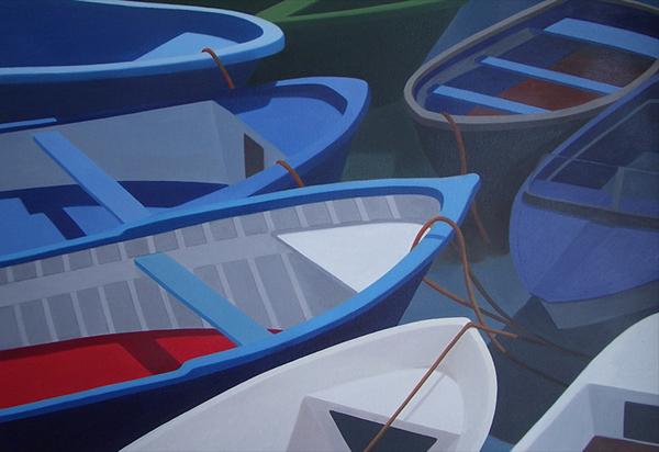 carmen maura pintora painter oil on canvas wood on canvas barcas ship
