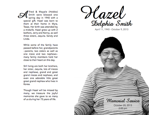 Folded Memorial Service Program on Behance