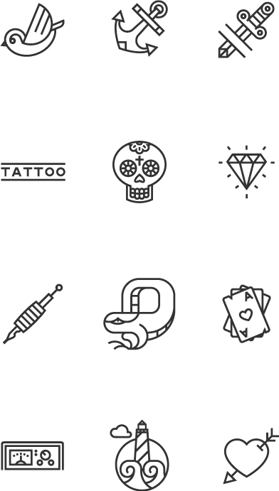 icon set icons tattoo swallow anchor heart Mexican skull diamond  free download free icons vector svg flatdesign Nike freebie