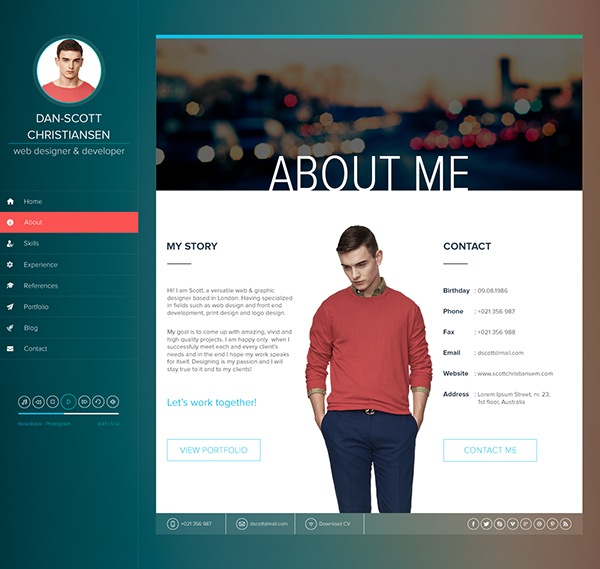Ispy Resume Cv Blog Portfolio Psd On Behance