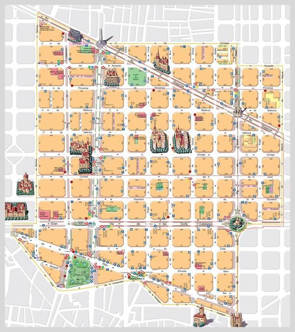 Eixample Dreta Barcelona Mapa.Barcelona Dreta Eixample On Pantone Canvas Gallery