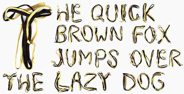 Shoelaces Typeface font Shoelace shoe yellow black free Playful lace lacing string alphabet