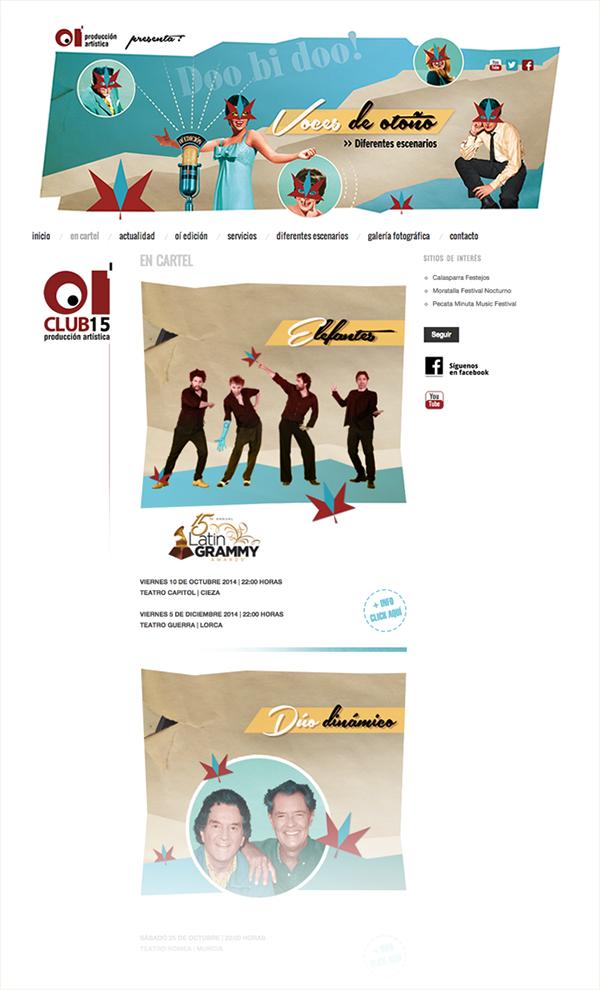 Interface web page Cultural Agenda visual comunication