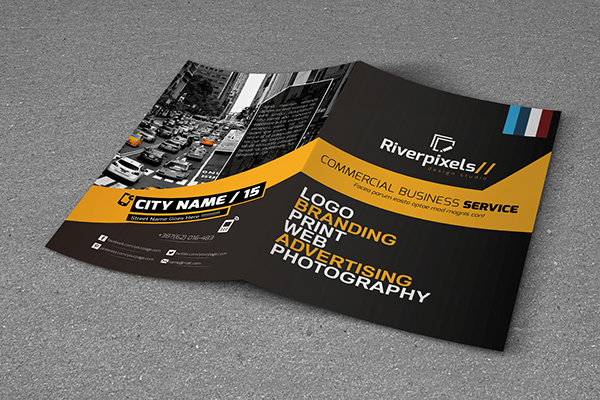 modern a4 bi fold brochure template on student show