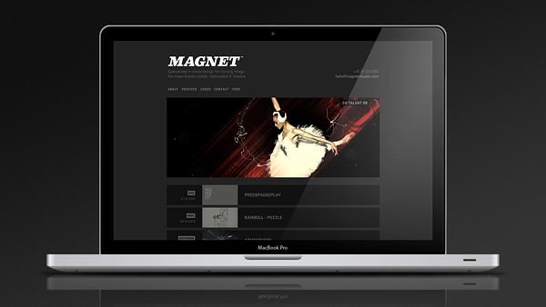 magnet design studio Interface motion design wordpress dark simplistic clean