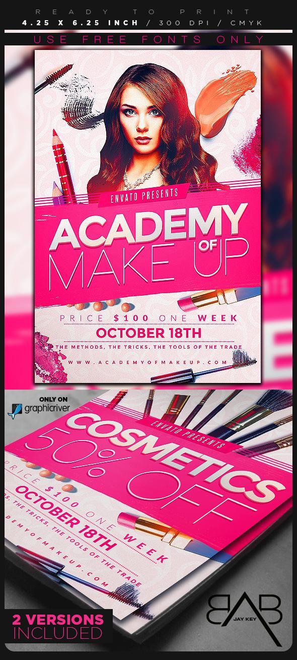 makeup course flyer template on behance