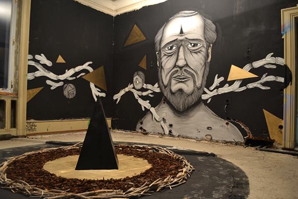 room black face art streetart paint dark