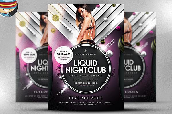 Liquid Nightclub Flyer Template on Behance