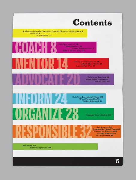 Code council of ontario directors of education on adweek for Table of contents design