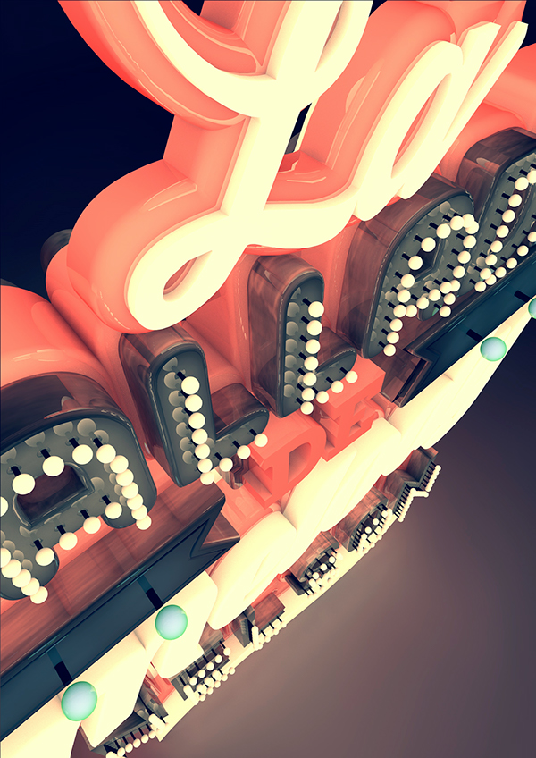 typo Cinema 3D 4d photoshop neon type light sound better