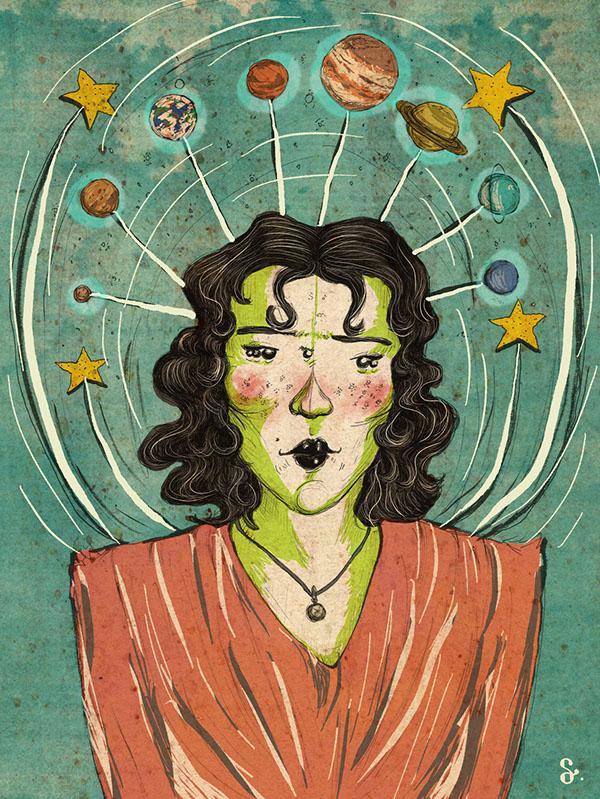 universe planet galaxy woman alien Space  queen psychedelic