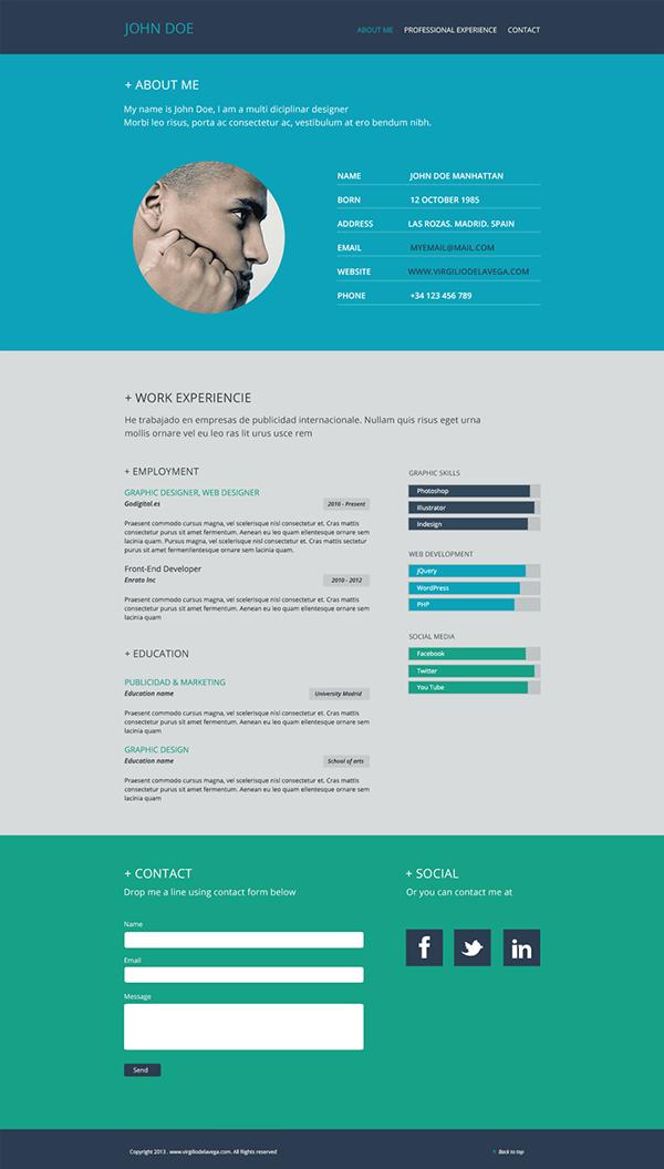 resume flat web design on behance