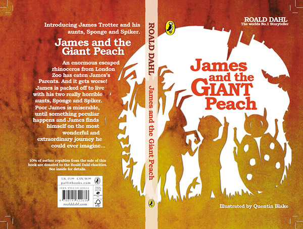 Children S Book Back Cover Text : James and the giant peach roald dahl cover design on