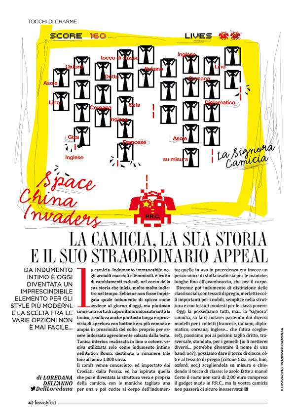 Lusso Style illustrazione Francesco Mazzenga Loredana Dell'Anno magazine