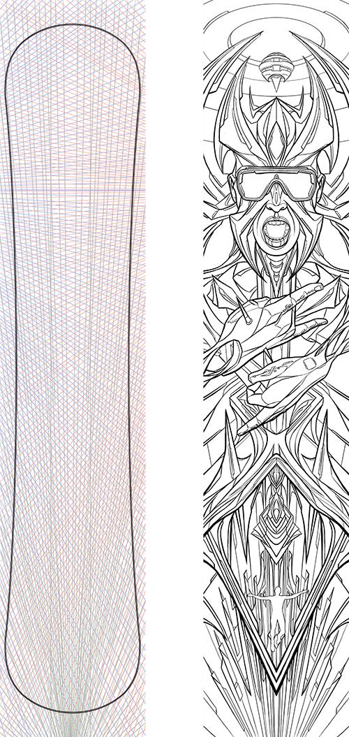 snowboard Snowboarding winter screen print trippy enlightenment