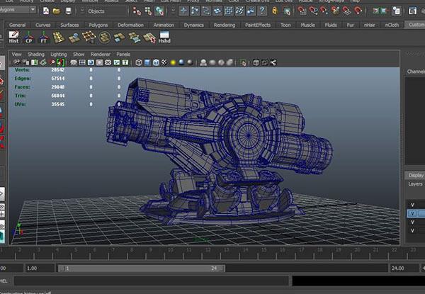 Maya making of plasma cannon weapon 3d art work maya 3D
