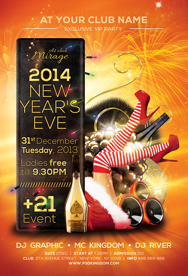 christmas nye party flyer templates on behance