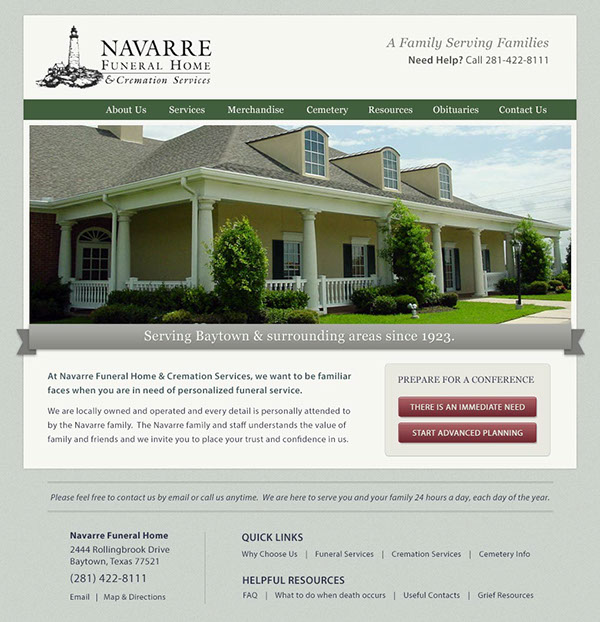 navarre funeral home website design on behance. Black Bedroom Furniture Sets. Home Design Ideas