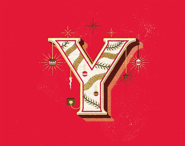 Christmas type lettering drop caps xmas texture letterpress flourish sketches campaign initial caps posters