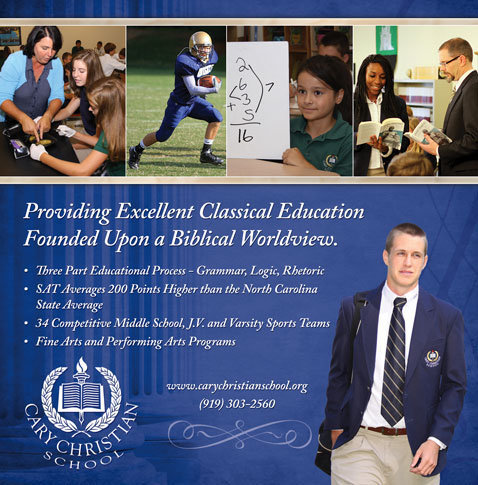 Print advertisement for Cary Christian School.