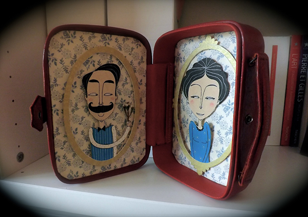 paper engineering vintage recycling portrait Lovers couple fabric pattern costumized collage red blue object art leather