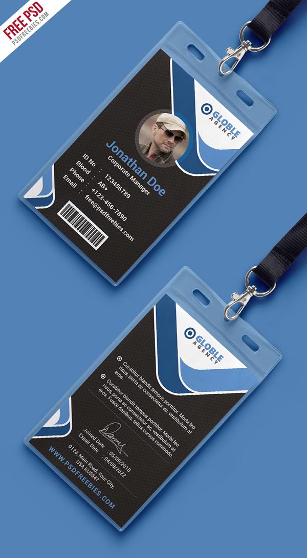 free psd  multipurpose dark office id card template on