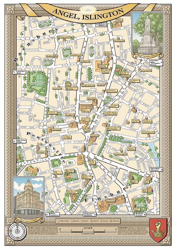 London Map Shoreditch Area: Illustrated Maps Of London Boroughs & Neighbourhoods On