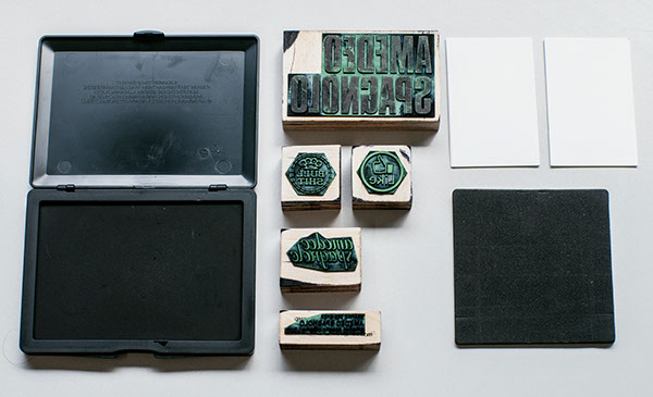 Rubber stamps for business card on behance colourmoves