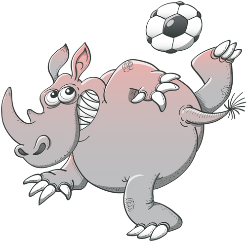 Rhinoceros playing soccer with great style